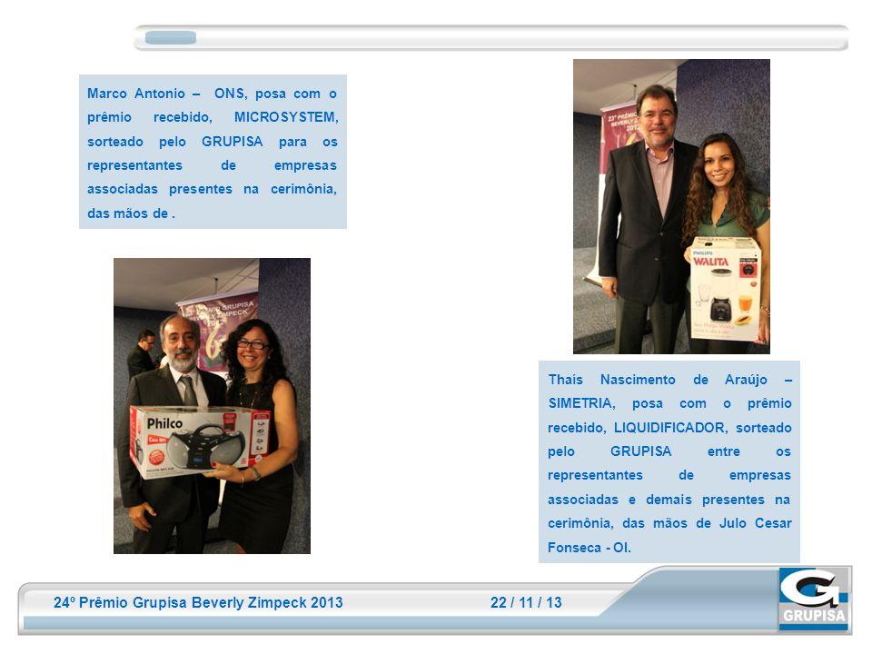 24º Prêmio Grupisa Beverly Zimpeck 2013 22 / 11 / 13 Marco Antonio – ONS, posa com o prêmio recebido, MICROSYSTEM, sorteado pelo GRUPISA para os repre