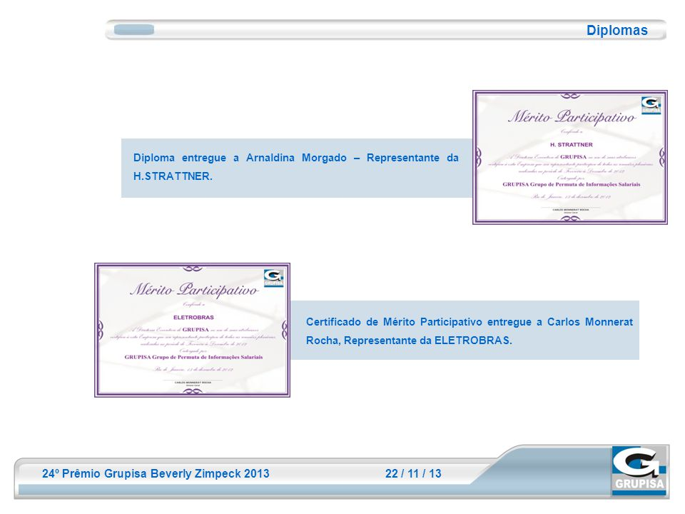 24º Prêmio Grupisa Beverly Zimpeck 2013 22 / 11 / 13 Diplomas Diploma entregue a Arnaldina Morgado – Representante da H.STRATTNER. Certificado de Méri
