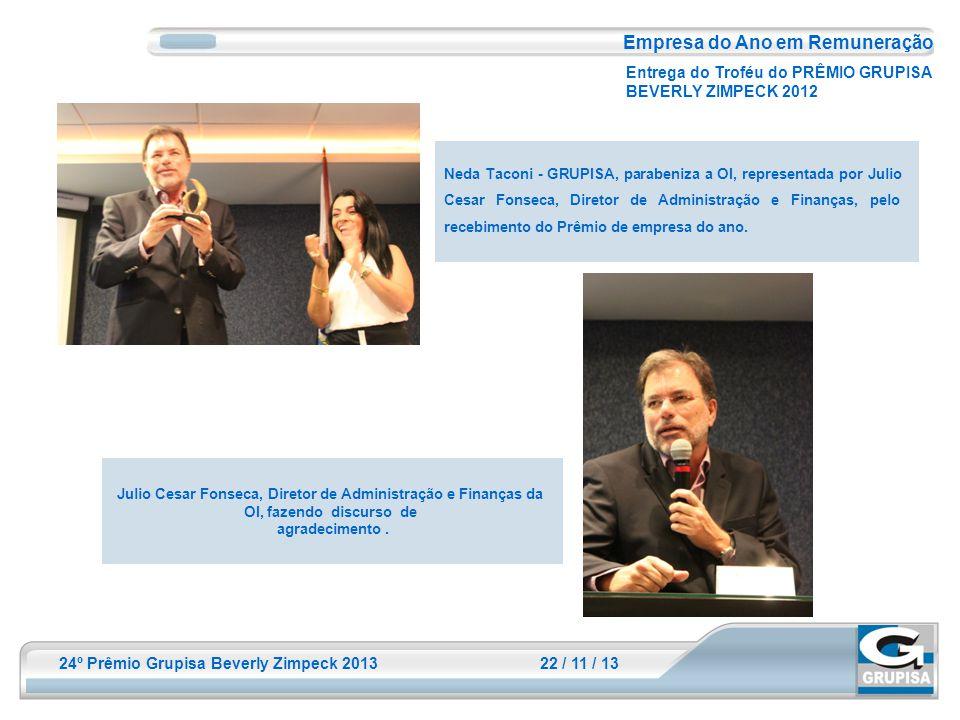 24º Prêmio Grupisa Beverly Zimpeck 2013 22 / 11 / 13 Julio Cesar Fonseca, Diretor de Administração e Finanças da OI, fazendo discurso de agradecimento