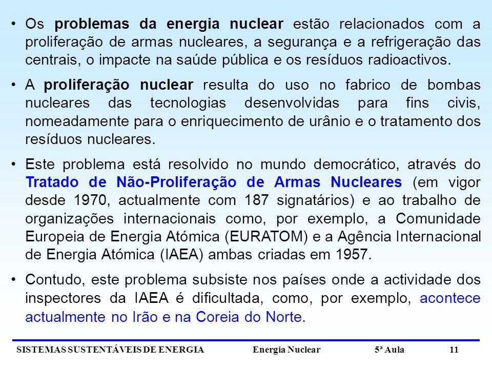 SISTEMAS SUSTENTÁVEIS DE ENERGIA Energia Nuclear 5ª Aula 11 Os problemas da energia nuclear estão relacionados com a proliferação de armas nucleares, a segurança e a refrigeração das centrais, o impacte na saúde pública e os resíduos radioactivos.