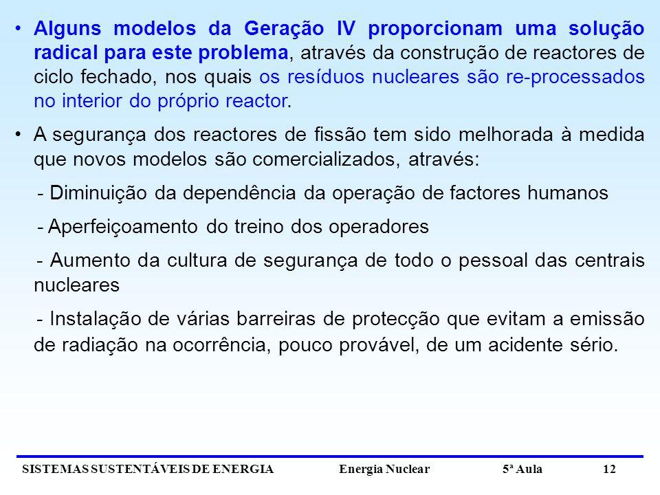 SISTEMAS SUSTENTÁVEIS DE ENERGIA Energia Nuclear 5ª Aula 12 Alguns modelos da Geração IV proporcionam uma solução radical para este problema, através