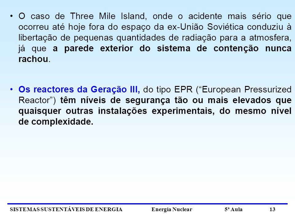 SISTEMAS SUSTENTÁVEIS DE ENERGIA Energia Nuclear 5ª Aula 13 O caso de Three Mile Island, onde o acidente mais sério que ocorreu até hoje fora do espaç