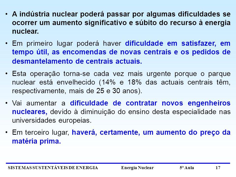 SISTEMAS SUSTENTÁVEIS DE ENERGIA Energia Nuclear 5ª Aula 17 A indústria nuclear poderá passar por algumas dificuldades se ocorrer um aumento significativo e súbito do recurso à energia nuclear.