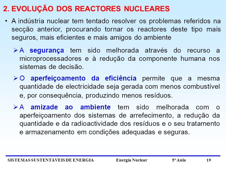SISTEMAS SUSTENTÁVEIS DE ENERGIA Energia Nuclear 5ª Aula 19 2. EVOLUÇÃO DOS REACTORES NUCLEARES A indústria nuclear tem tentado resolver os problemas