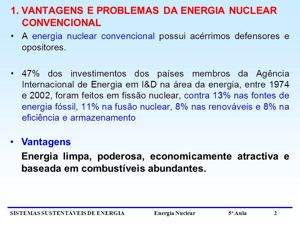 SISTEMAS SUSTENTÁVEIS DE ENERGIA Energia Nuclear 5ª Aula 2 1. VANTAGENS E PROBLEMAS DA ENERGIA NUCLEAR CONVENCIONAL A energia nuclear convencional pos