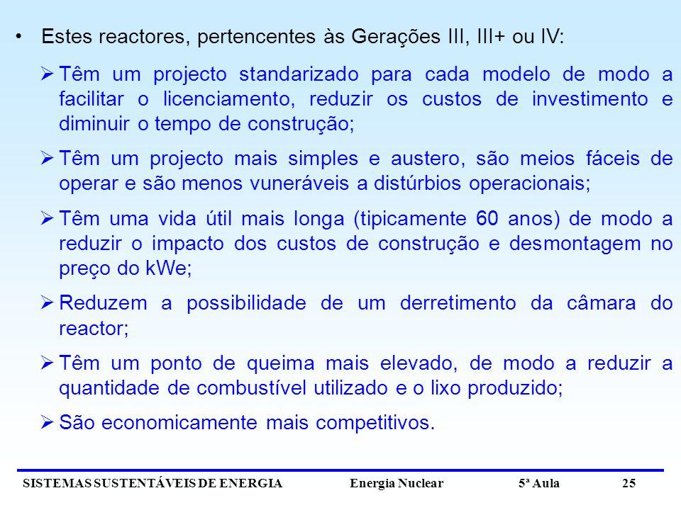 SISTEMAS SUSTENTÁVEIS DE ENERGIA Energia Nuclear 5ª Aula 25 Estes reactores, pertencentes às Gerações III, III+ ou IV: Têm um projecto standarizado pa