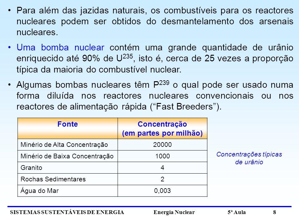 SISTEMAS SUSTENTÁVEIS DE ENERGIA Energia Nuclear 5ª Aula 8 Para além das jazidas naturais, os combustíveis para os reactores nucleares podem ser obtidos do desmantelamento dos arsenais nucleares.