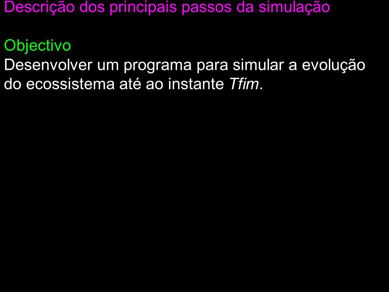 Descrição dos principais passos da simulação Objectivo Desenvolver um programa para simular a evolução do ecossistema até ao instante Tfim.