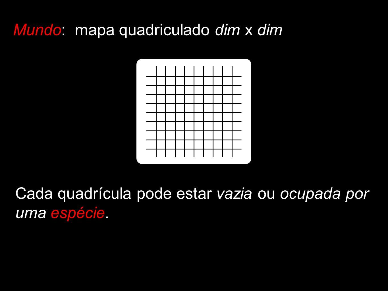 Mundo: mapa quadriculado dim x dim Cada quadrícula pode estar vazia ou ocupada por uma espécie.