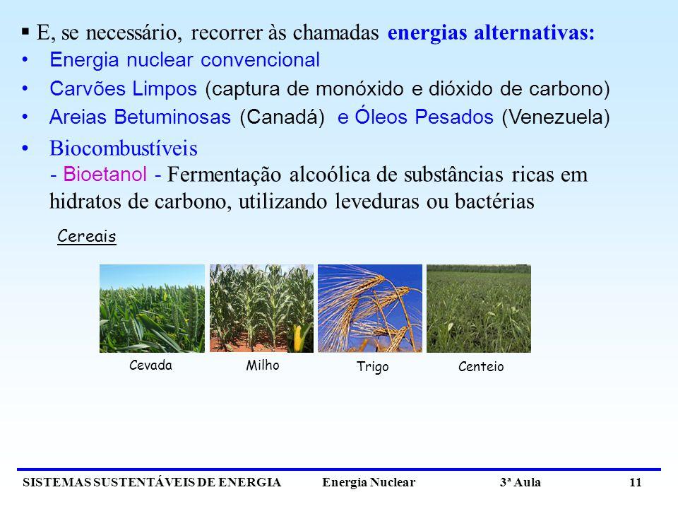 SISTEMAS SUSTENTÁVEIS DE ENERGIA Energia Nuclear 3ª Aula 11 Energia nuclear convencional Carvões Limpos (captura de monóxido e dióxido de carbono) Areias Betuminosas (Canadá) e Óleos Pesados (Venezuela) Biocombustíveis - Bioetanol - Fermentação alcoólica de substâncias ricas em hidratos de carbono, utilizando leveduras ou bactérias E, se necessário, recorrer às chamadas energias alternativas: Trigo Centeio CevadaMilho Cereais