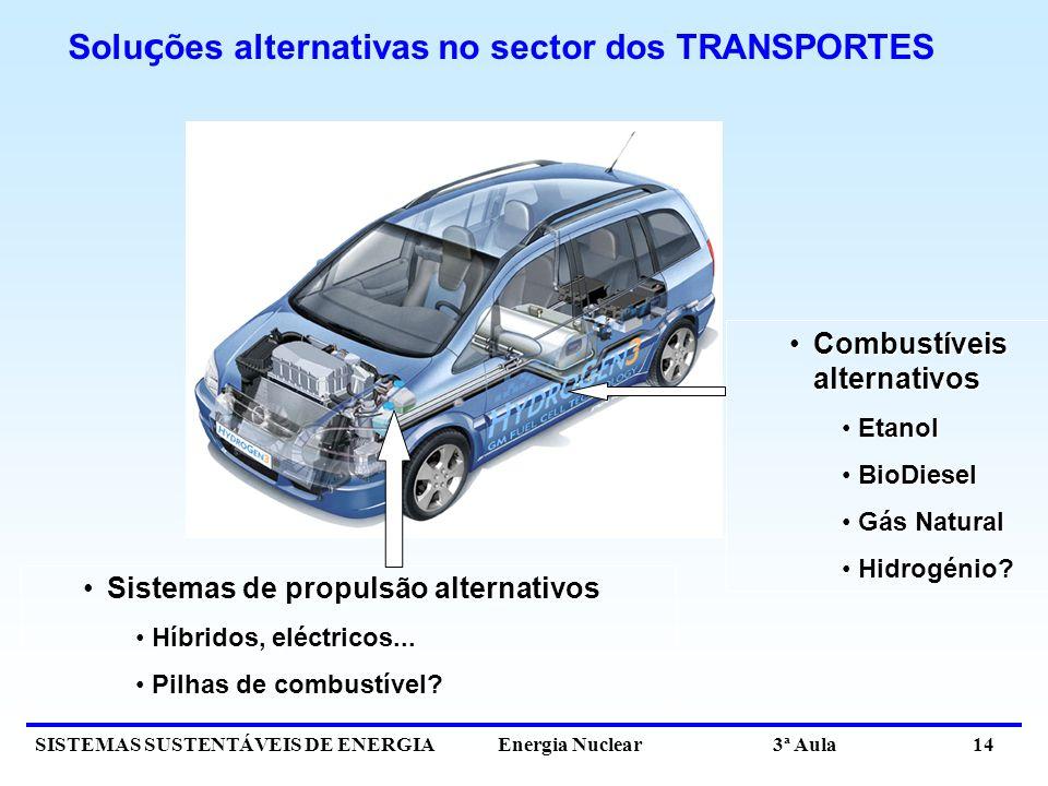 SISTEMAS SUSTENTÁVEIS DE ENERGIA Energia Nuclear 3ª Aula 14 Solu ç ões alternativas no sector dos TRANSPORTES Combustíveis alternativosCombustíveis al