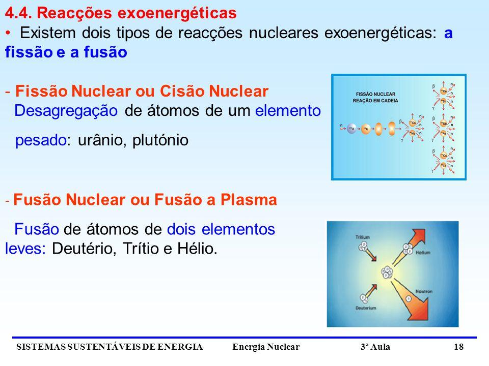 SISTEMAS SUSTENTÁVEIS DE ENERGIA Energia Nuclear 3ª Aula 18 4.4. Reacções exoenergéticas Existem dois tipos de reacções nucleares exoenergéticas: a fi
