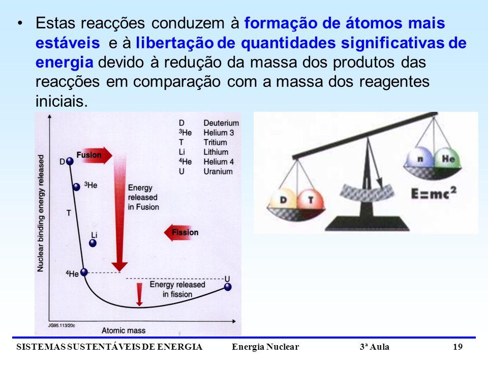 SISTEMAS SUSTENTÁVEIS DE ENERGIA Energia Nuclear 3ª Aula 19 Estas reacções conduzem à formação de átomos mais estáveis e à libertação de quantidades s
