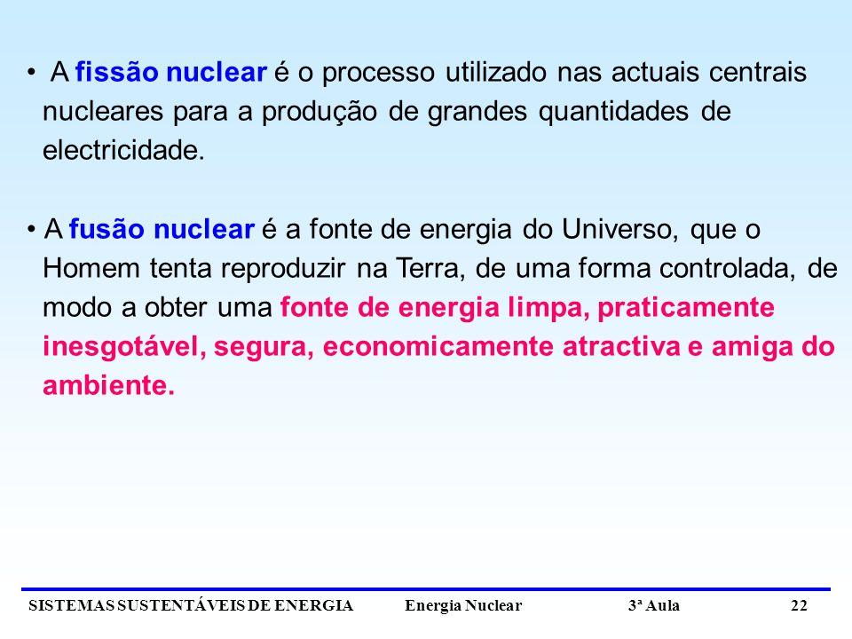 SISTEMAS SUSTENTÁVEIS DE ENERGIA Energia Nuclear 3ª Aula 22 A fissão nuclear é o processo utilizado nas actuais centrais nucleares para a produção de