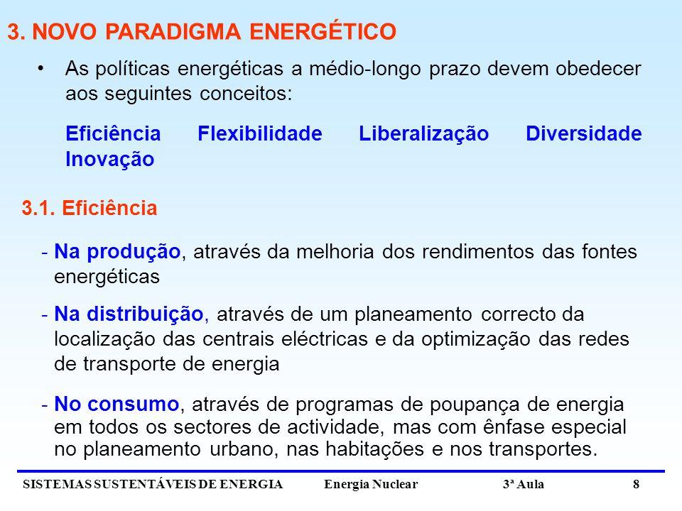 SISTEMAS SUSTENTÁVEIS DE ENERGIA Energia Nuclear 3ª Aula 8 As políticas energéticas a médio-longo prazo devem obedecer aos seguintes conceitos: Eficiê