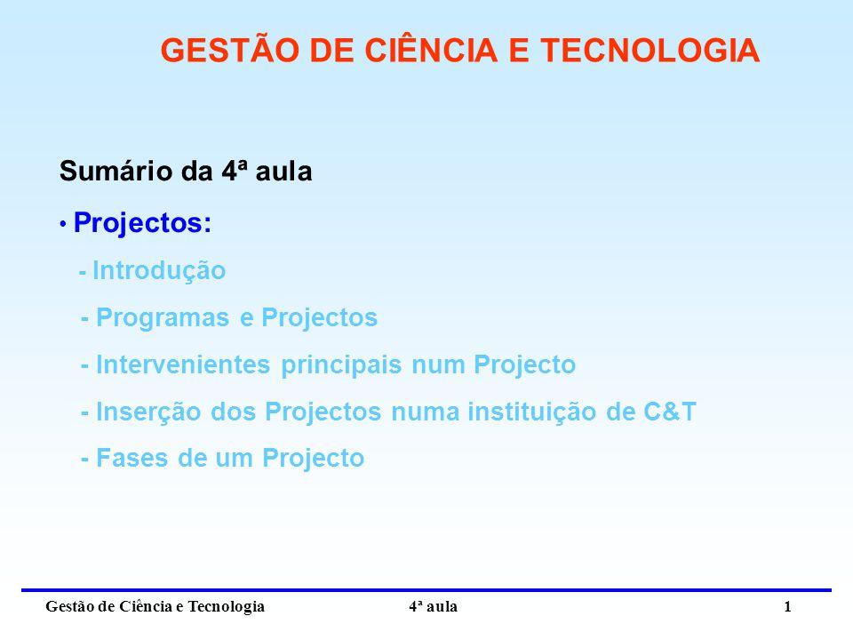 Gestão de Ciência e Tecnologia 4ª aula 1 GESTÃO DE CIÊNCIA E TECNOLOGIA Sumário da 4ª aula Projectos: - Introdução - Programas e Projectos - Intervenientes principais num Projecto - Inserção dos Projectos numa instituição de C&T - Fases de um Projecto