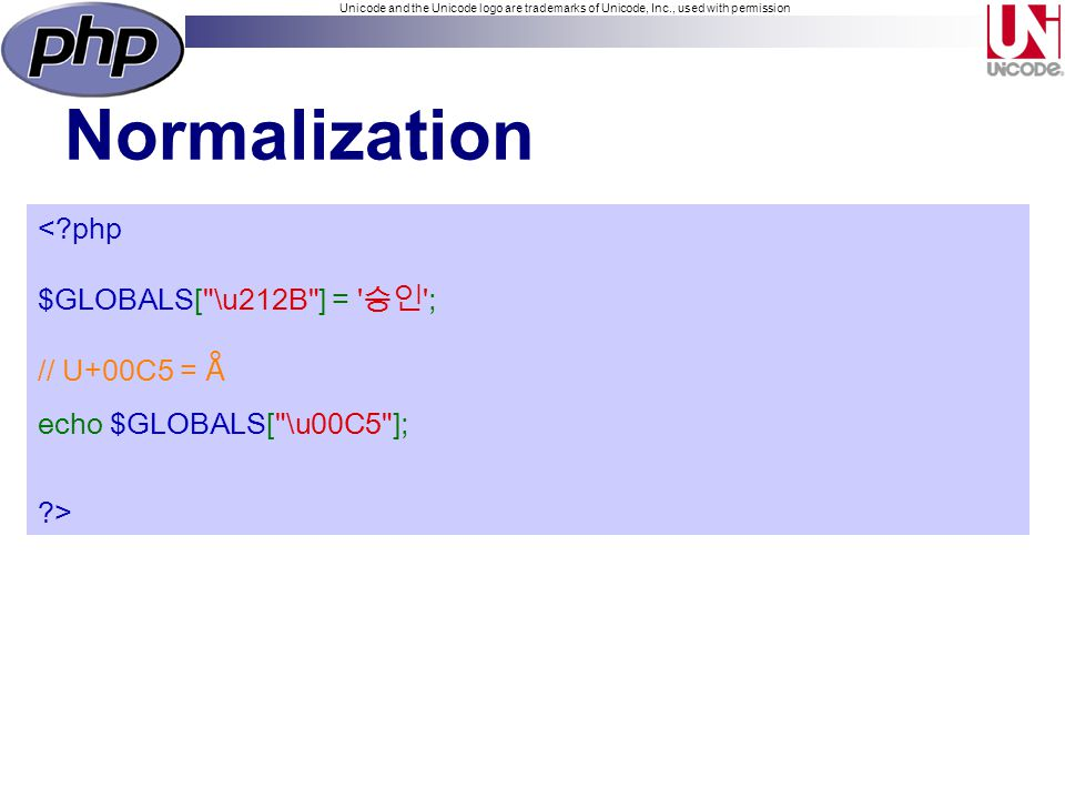 Unicode and the Unicode logo are trademarks of Unicode, Inc., used with permission Normalization < php $GLOBALS[ \u212B ] = ; // U+00C5 = Å echo $GLOBALS[ \u00C5 ]; >