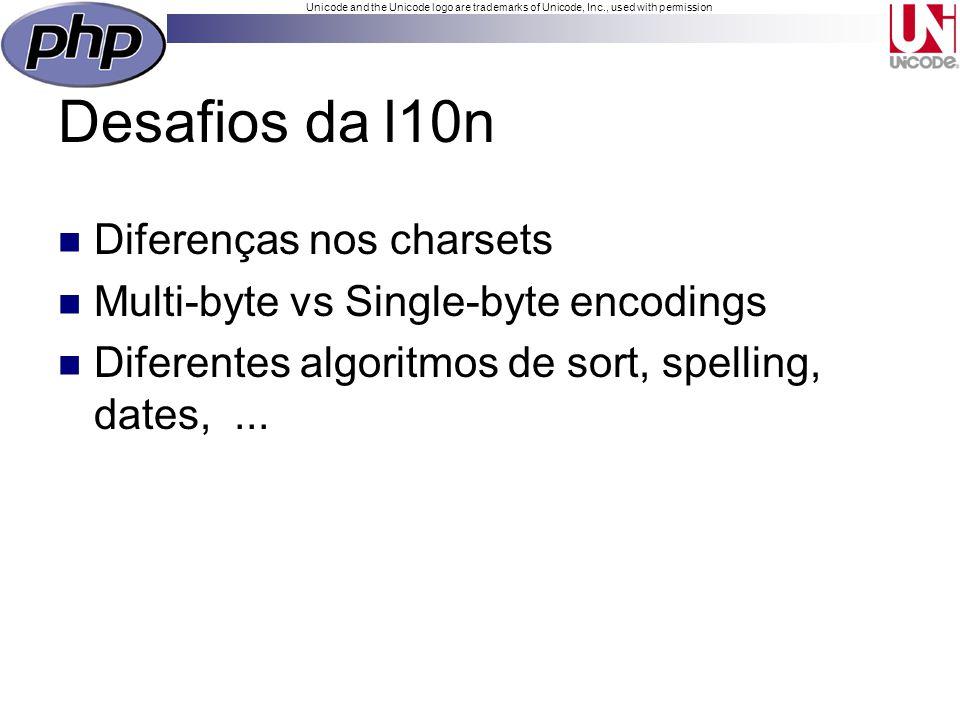 Unicode and the Unicode logo are trademarks of Unicode, Inc., used with permission Iconv iconv_strlen() iconv_substr() iconv_strpos() iconv() Não resolve a maioria dos problemas