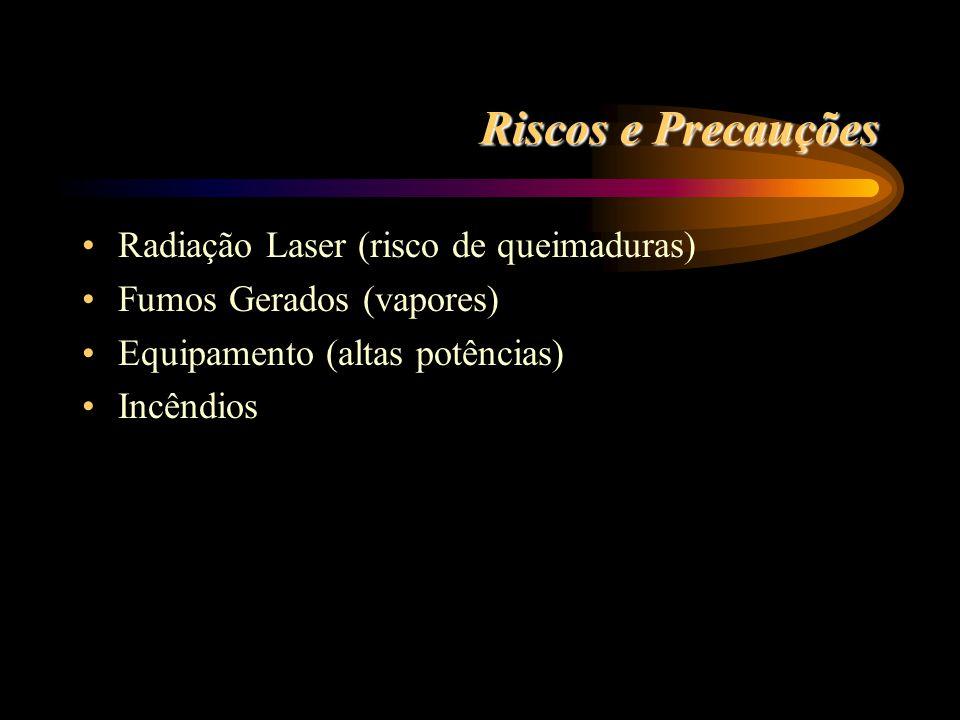 LASERS MAIS COMUNS Laser CO2 Potência até 50kW Eficiência de 5 a 10% = 10,6mm ZAC <= 0.5mm Opticas transmissivas Nd:YAG Potência até 5kW Eficiência de