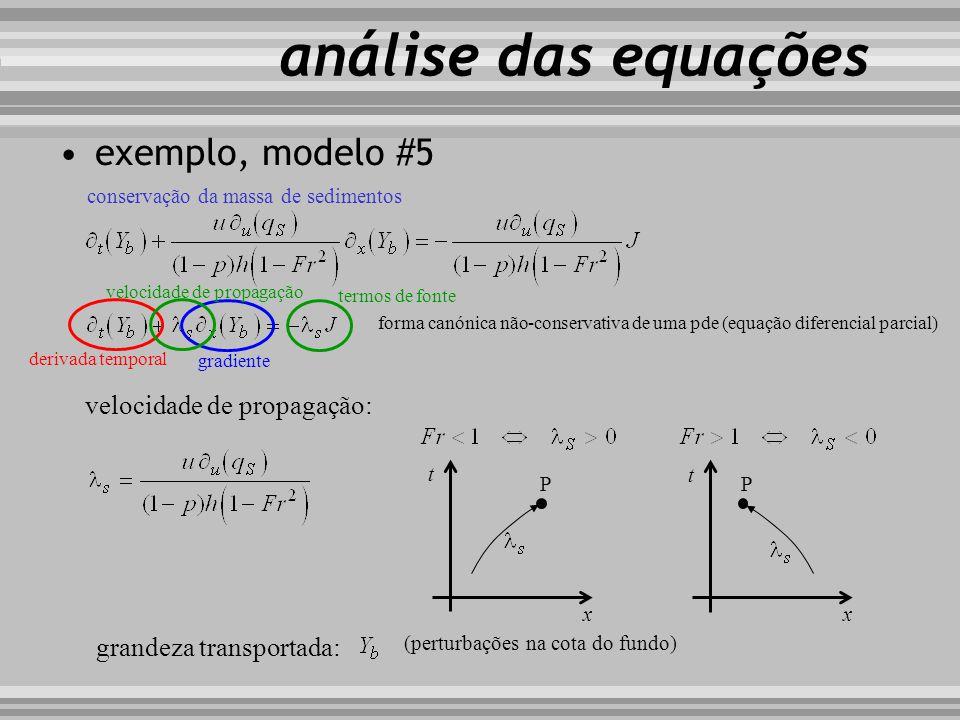 conservação da massa de sedimentos velocidade de propagação: exemplo, modelo #5 t x P t x P grandeza transportada: análise das equações derivada tempo