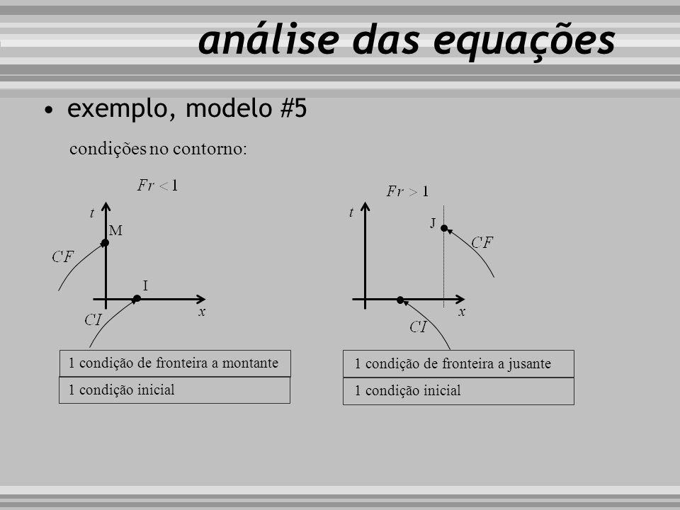 exemplo, modelo #5 t x M t x 1 condição de fronteira a montante 1 condição inicial condições no contorno: I J 1 condição de fronteira a jusante 1 cond