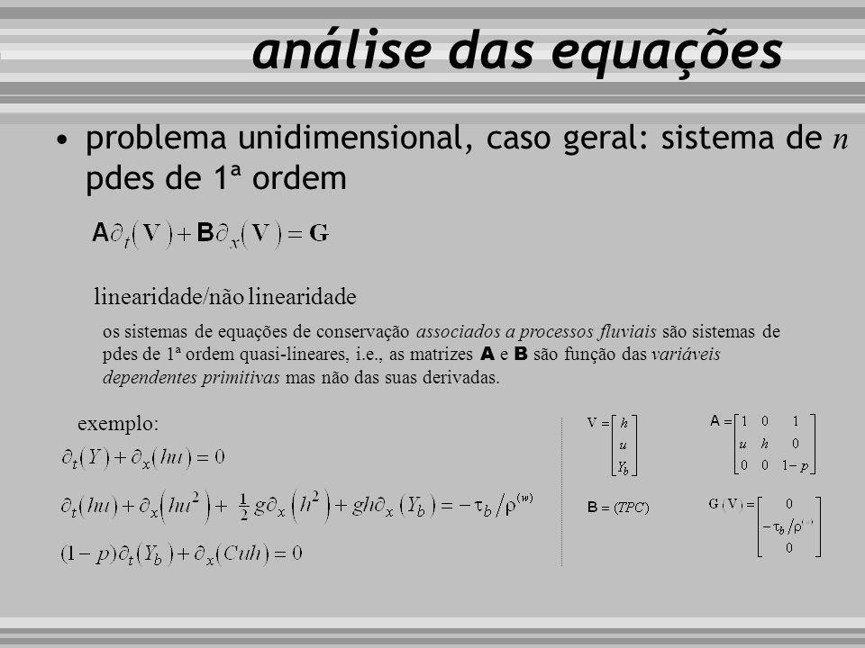 problema unidimensional, caso geral: sistema de n pdes de 1ª ordem análise das equações os sistemas de equações de conservação associados a processos