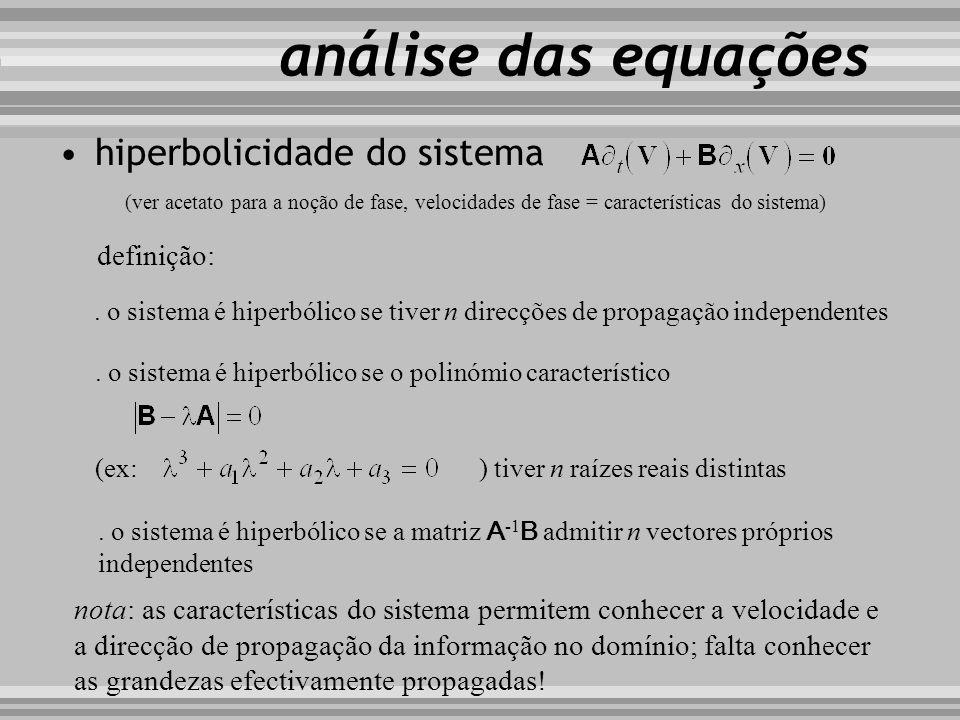 hiperbolicidade do sistema análise das equações. o sistema é hiperbólico se tiver n direcções de propagação independentes (ver acetato para a noção de