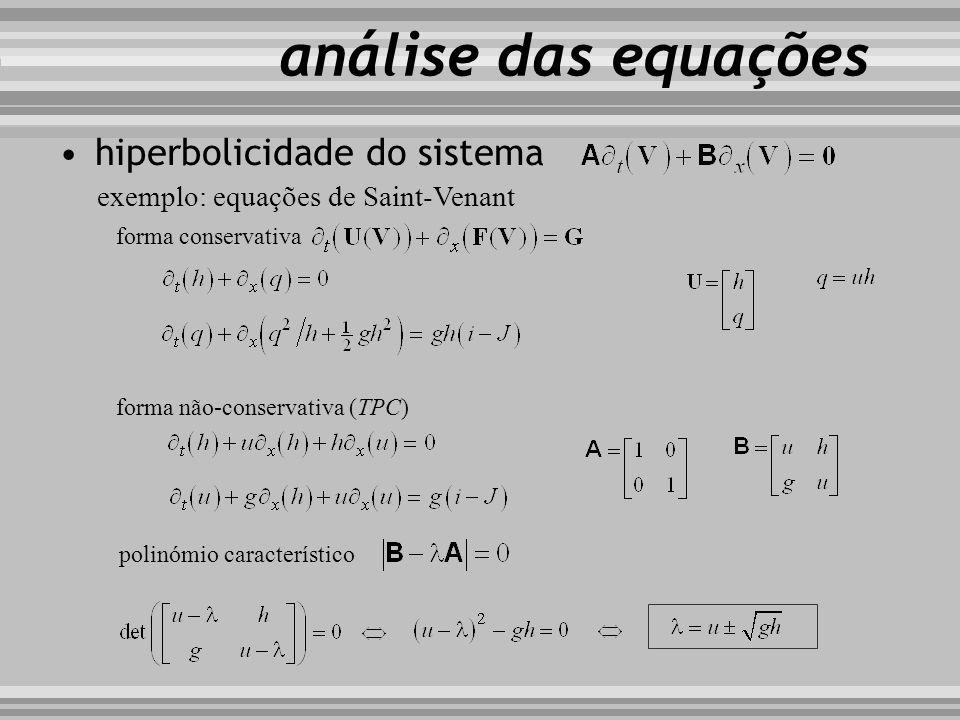 hiperbolicidade do sistema exemplo: equações de Saint-Venant forma conservativa análise das equações forma não-conservativa (TPC) polinómio caracterís