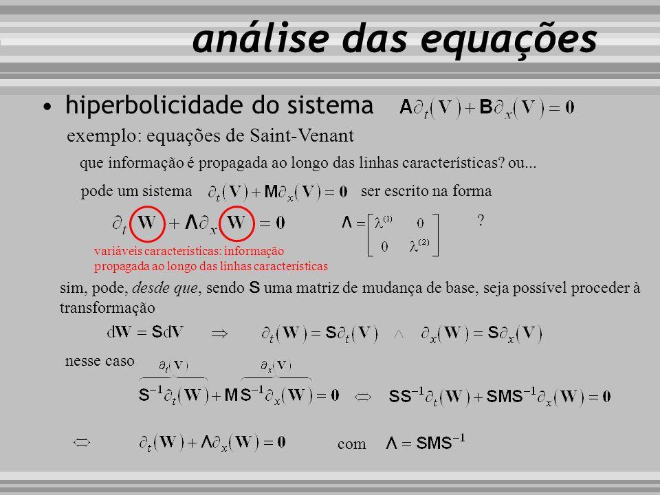 hiperbolicidade do sistema exemplo: equações de Saint-Venant que informação é propagada ao longo das linhas características? ou... análise das equaçõe