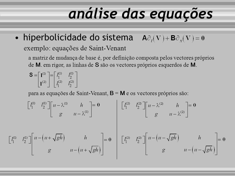 hiperbolicidade do sistema exemplo: equações de Saint-Venant a matriz de mudança de base é, por definição composta pelos vectores próprios de M. em ri