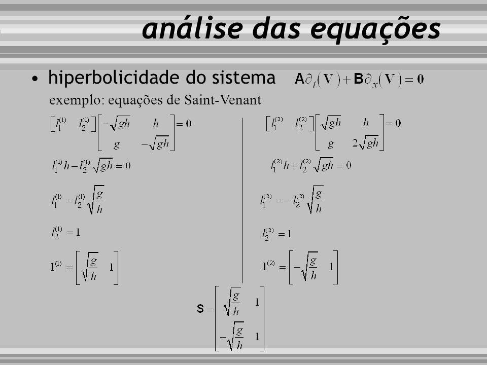 hiperbolicidade do sistema exemplo: equações de Saint-Venant análise das equações