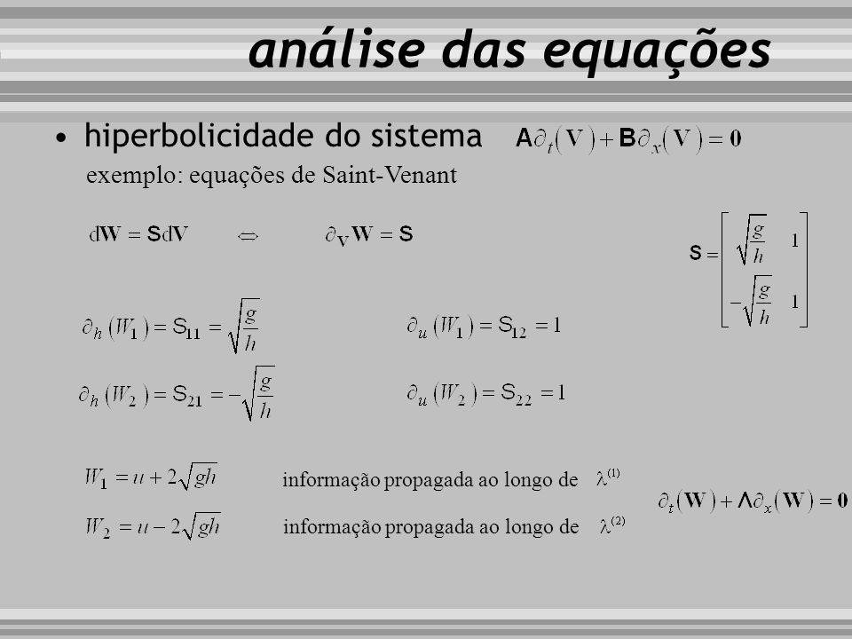 hiperbolicidade do sistema exemplo: equações de Saint-Venant análise das equações informação propagada ao longo de