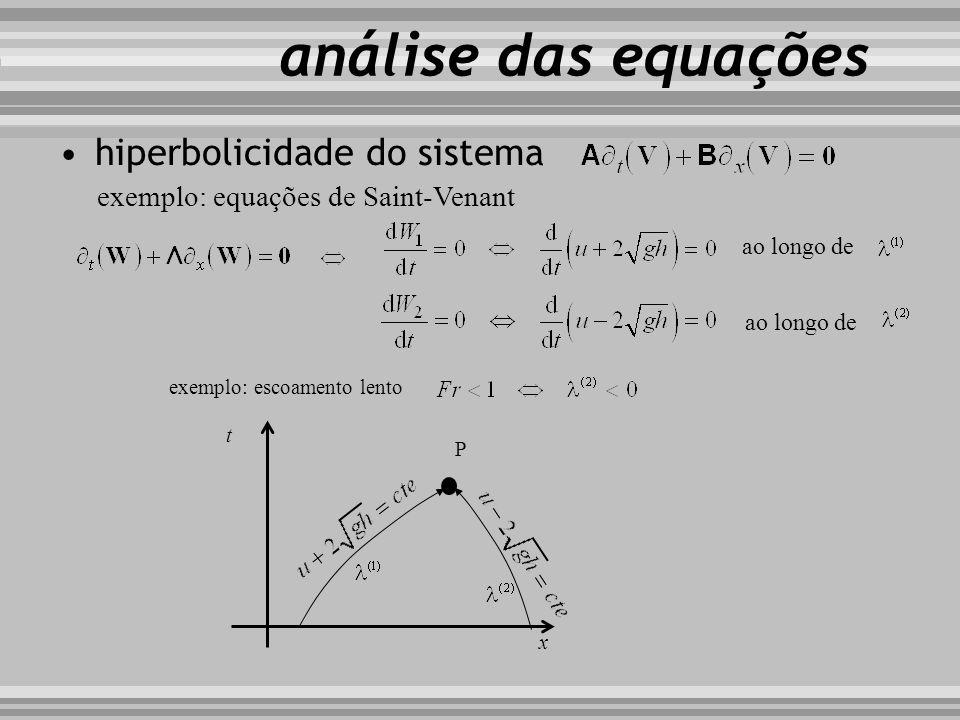 hiperbolicidade do sistema exemplo: equações de Saint-Venant análise das equações ao longo de exemplo: escoamento lento t x P