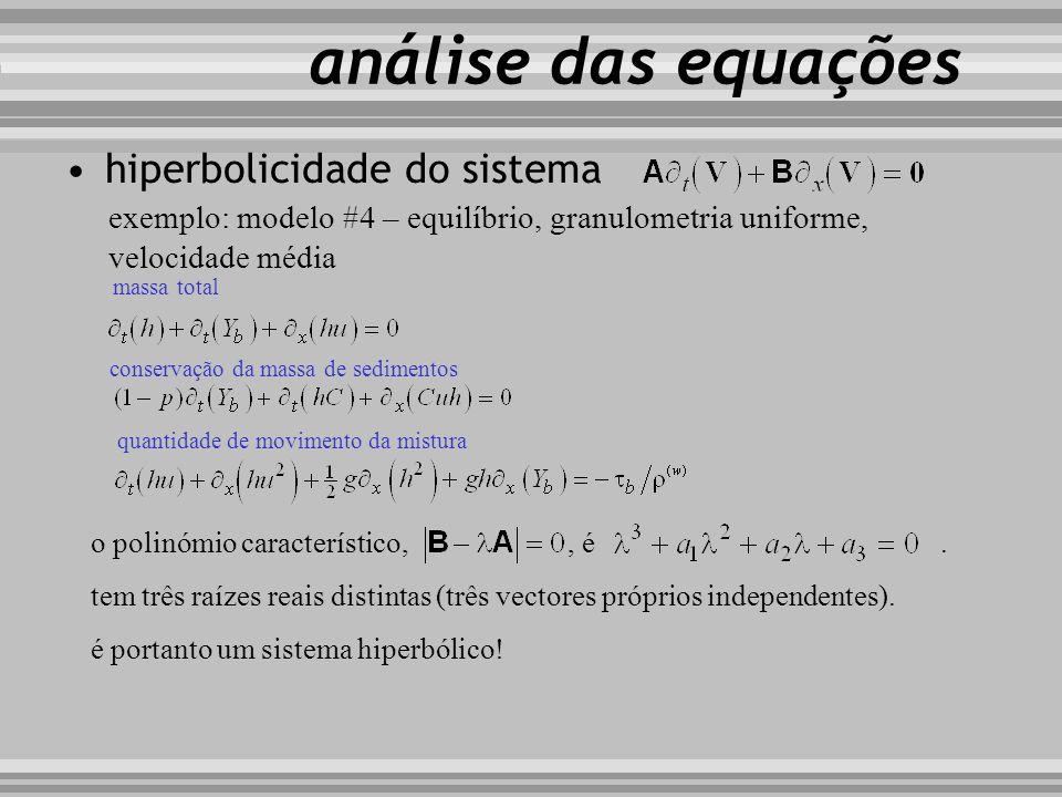 hiperbolicidade do sistema exemplo: modelo #4 – equilíbrio, granulometria uniforme, velocidade média análise das equações massa total conservação da m