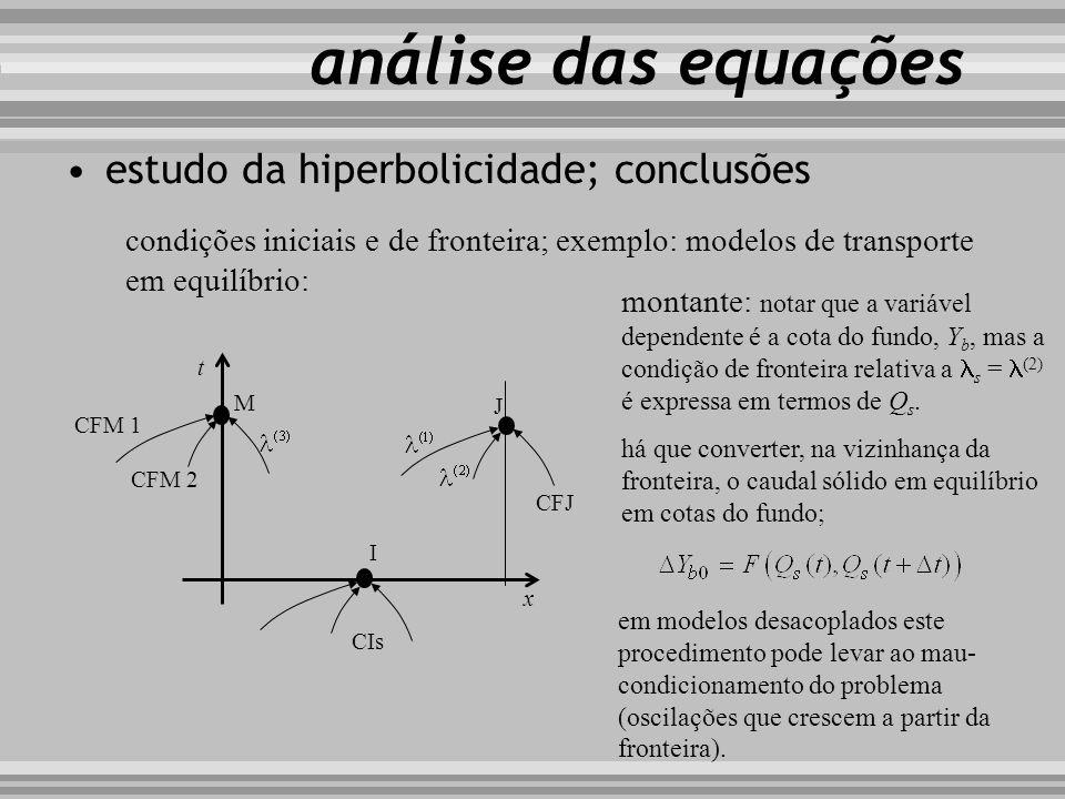análise das equações condições iniciais e de fronteira; exemplo: modelos de transporte em equilíbrio: M t x J I montante: notar que a variável depende