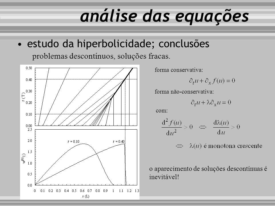 análise das equações problemas descontínuos, soluções fracas. estudo da hiperbolicidade; conclusões forma conservativa: forma não-conservativa: com: o