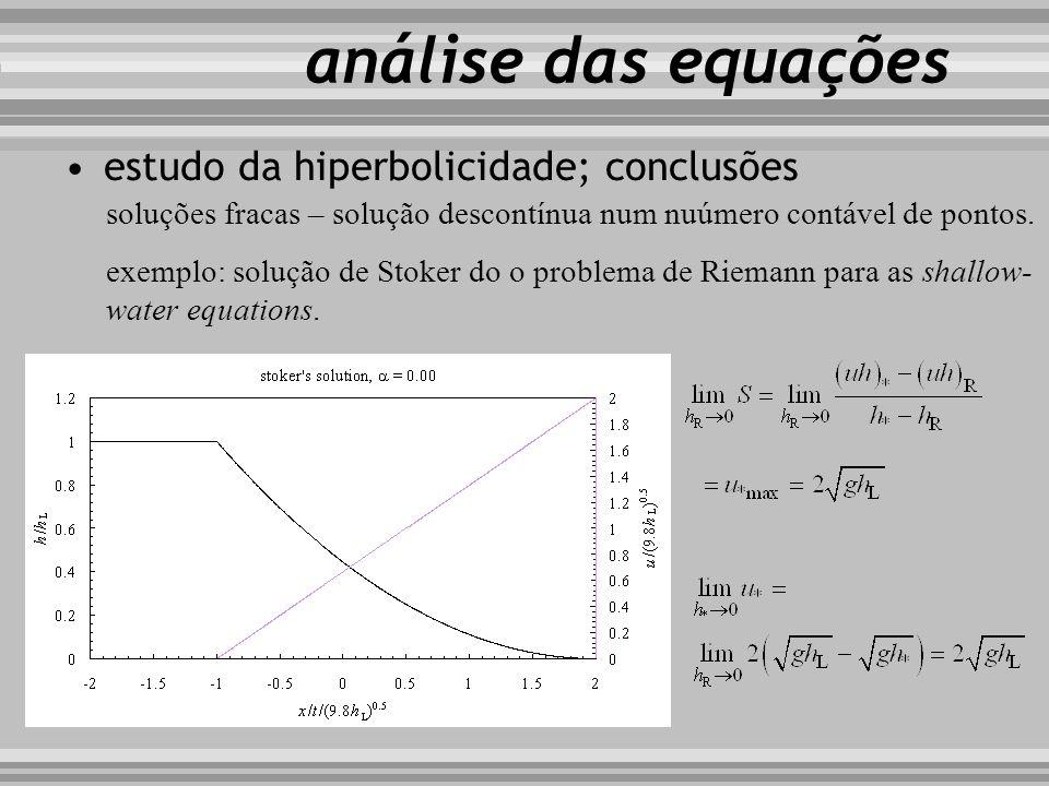análise das equações soluções fracas – solução descontínua num nuúmero contável de pontos. exemplo: solução de Stoker do o problema de Riemann para as