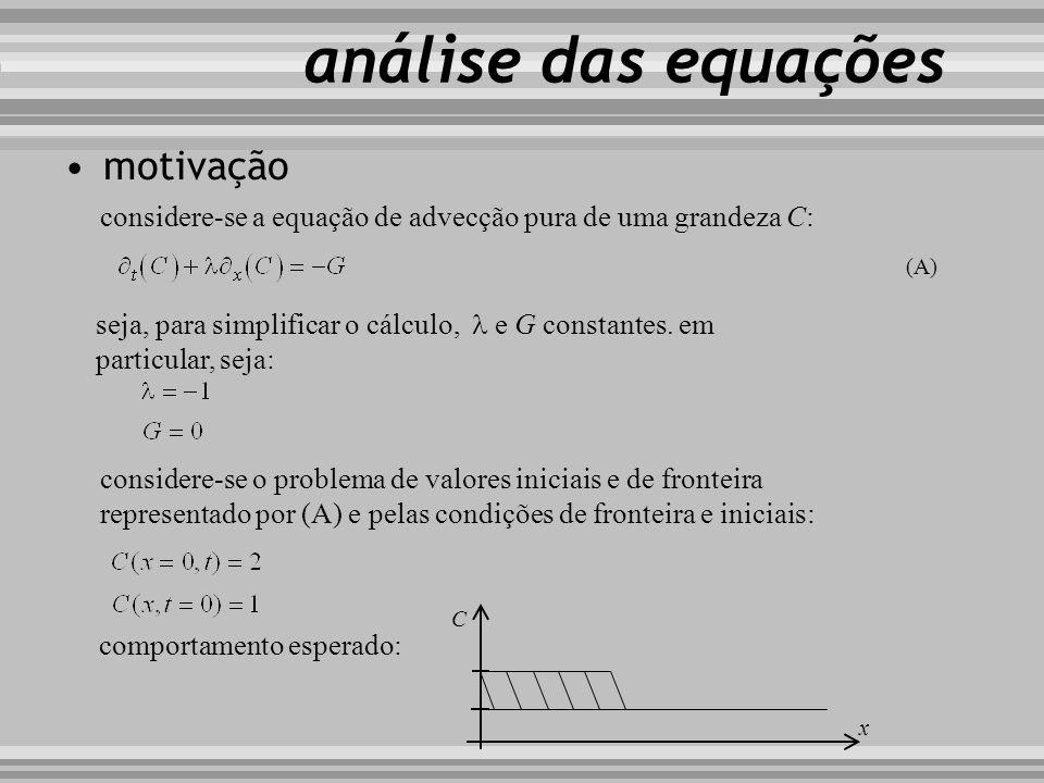 análise das equações motivação considere-se a equação de advecção pura de uma grandeza C: seja, para simplificar o cálculo, e G constantes. em particu