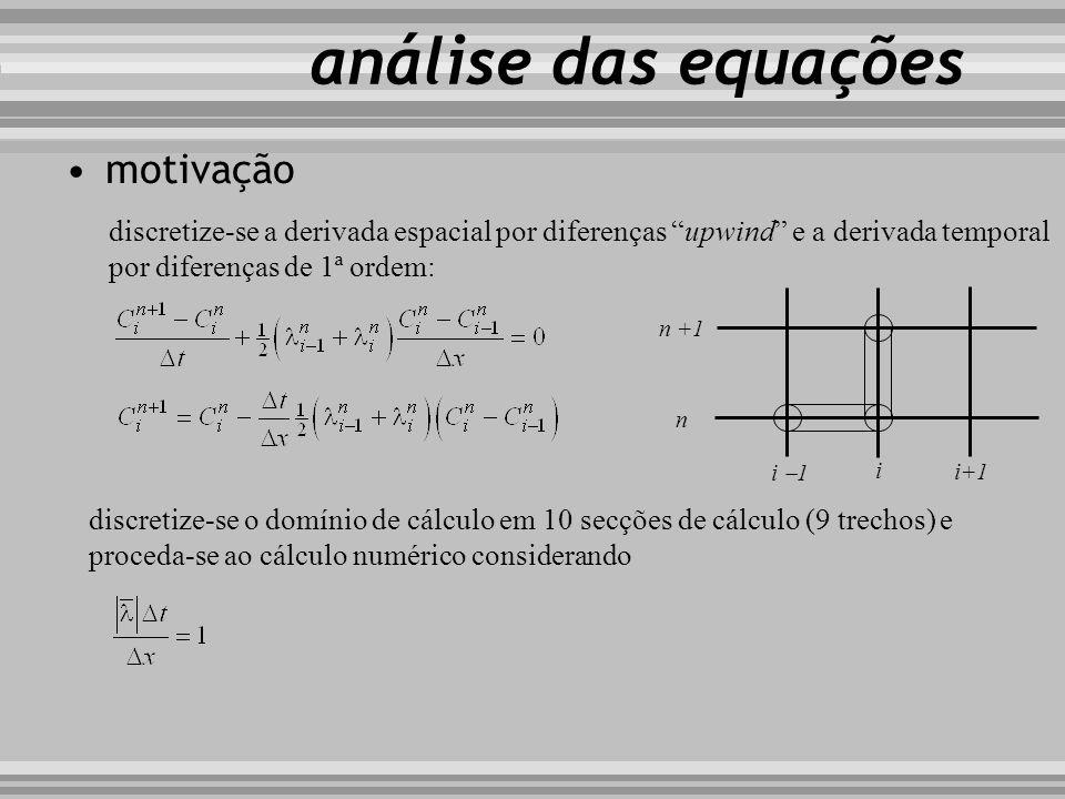 análise das equações motivação discretize-se a derivada espacial por diferenças upwind e a derivada temporal por diferenças de 1ª ordem: i i+1 i 1 n n