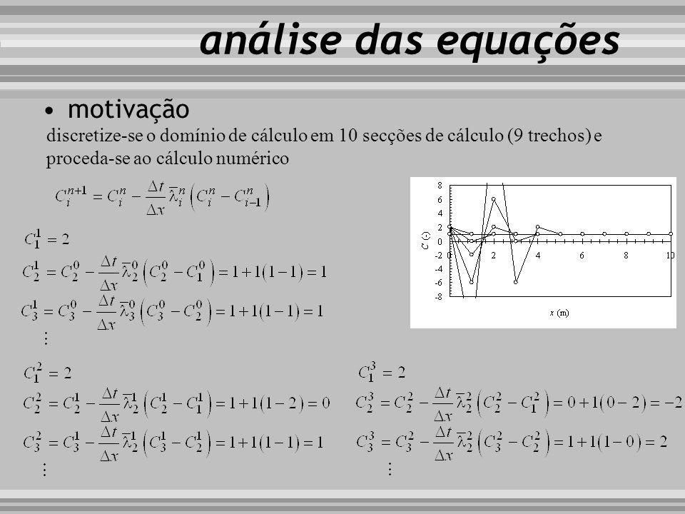 motivação i i+1 i 1 n n +1 discretize-se o domínio de cálculo em 10 secções de cálculo (9 trechos) e proceda-se ao cálculo numérico análise das equaçõ
