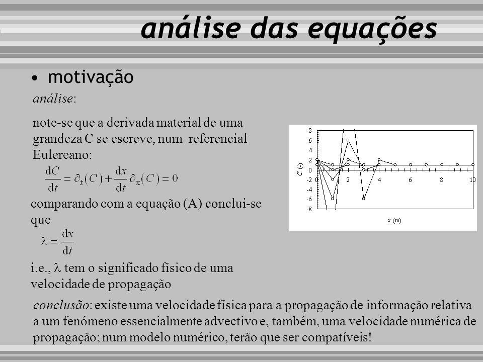 motivação i i+1 i 1 n n +1 análise: note-se que a derivada material de uma grandeza C se escreve, num referencial Eulereano: análise das equações comp