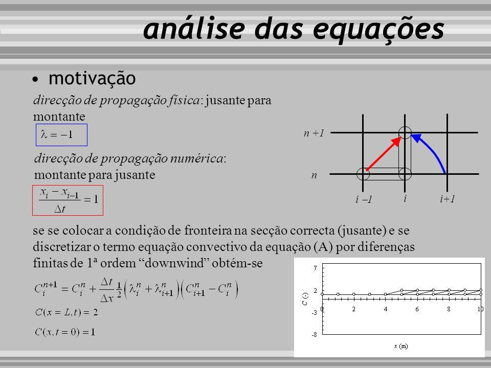 motivação i i+1 i 1 n n +1 direcção de propagação física: jusante para montante análise das equações direcção de propagação numérica: montante para ju