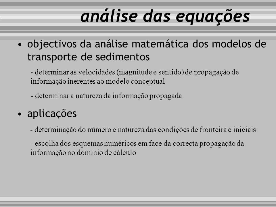 objectivos da análise matemática dos modelos de transporte de sedimentos - determinar as velocidades (magnitude e sentido) de propagação de informação
