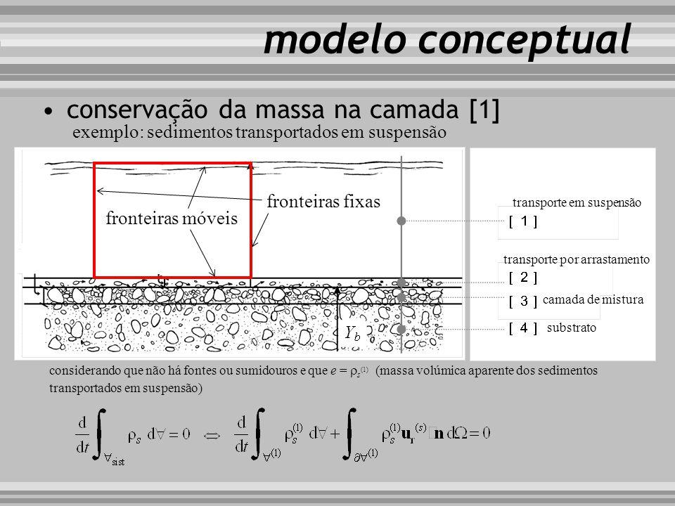 modelo conceptual conservação da massa na camada [1] considerando que não há fontes ou sumidouros e que e = s (1) (massa volúmica aparente dos sedimen
