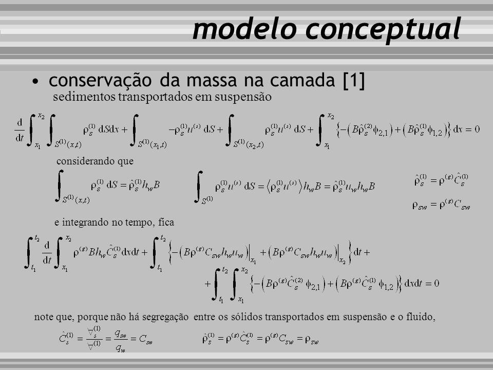 modelo conceptual considerando que e integrando no tempo, fica note que, porque não há segregação entre os sólidos transportados em suspensão e o flui