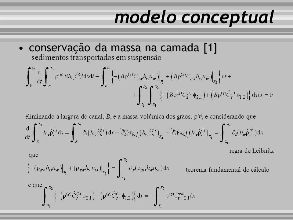 modelo conceptual eliminando a largura do canal, B, e a massa volúmica dos grãos, (g), e considerando que que regra de Leibnitz teorema fundamental do