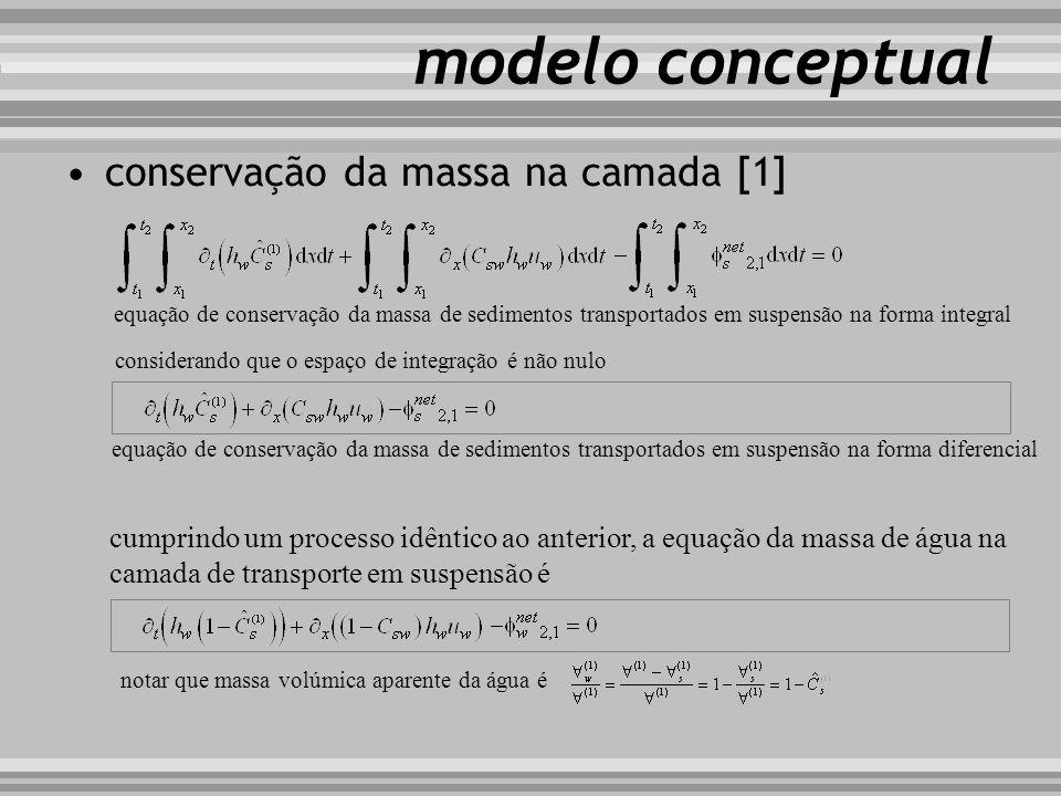 modelo conceptual considerando que o espaço de integração é não nulo equação de conservação da massa de sedimentos transportados em suspensão na forma