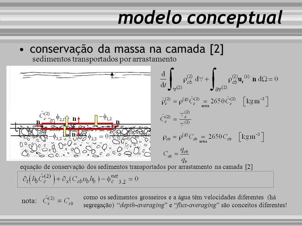 conservação da massa de sedimentos transporte em suspensão transporte por arrastamento camada de mistura substrato LaLa sedimentos transportados por a