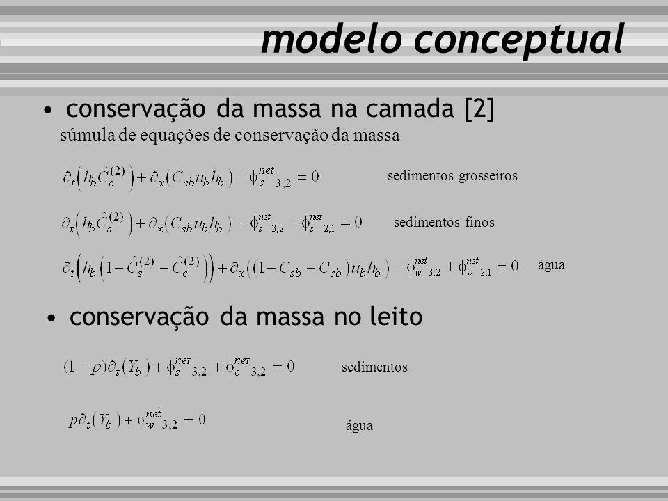 modelo conceptual conservação da massa na camada [2] súmula de equações de conservação da massa sedimentos grosseiros sedimentos finos água conservaçã