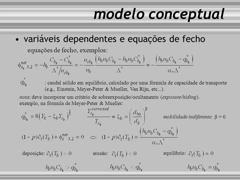 modelo conceptual variáveis dependentes e equações de fecho equações de fecho, exemplos: : caudal sólido em equilíbrio, calculado por uma fórmula de c